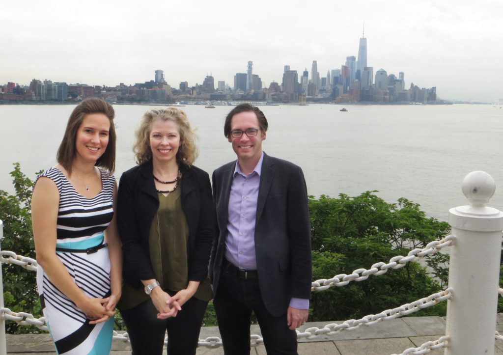 Professors Kristyn Karl, Julie Pullen, and Alex Wellerstein, at Castle Point Lookout at the Stevens Institute of Technology. Photo by Lina Kirby.