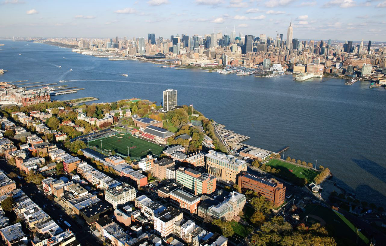 Aerial photograph of the Stevens Institute of Technology.